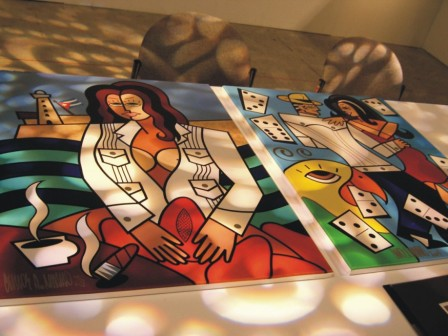 Lighting, exhibit, art show, with Carlos A. Navarro, at 'Cuba Nostalgia', Coconut Grove, FL