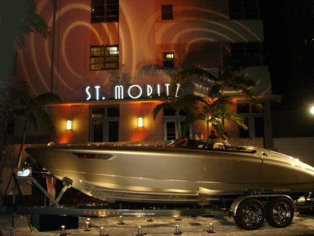 Boat show lighting, with Porsche 'Fearless', at Loews Hotel, Miami Beach, FL
