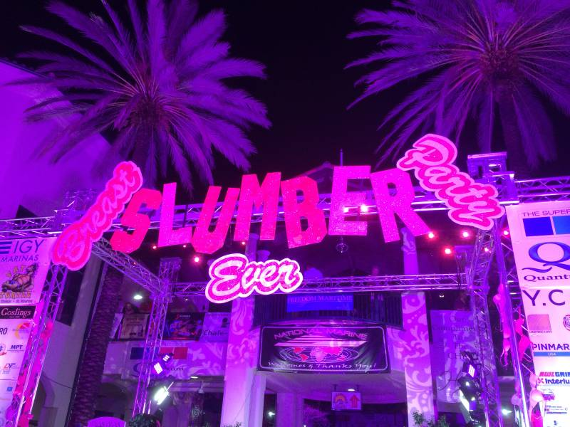 Lighting, charitable fundraiser, pink LED, breast cancer awareness, National Marine Suppliers, Las Olas Riverfront, Ft Lauderdale, FL