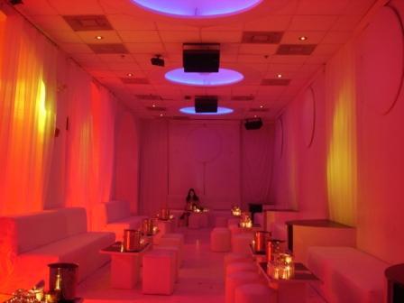 Lighting, fashion event, club-style, at Living Room, Miami Beach, FL
