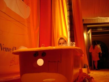 Amber uplighting, corporate event, decorative branding, with Veuve Clicquot, at Hotel Victor, Miami Beach, FL