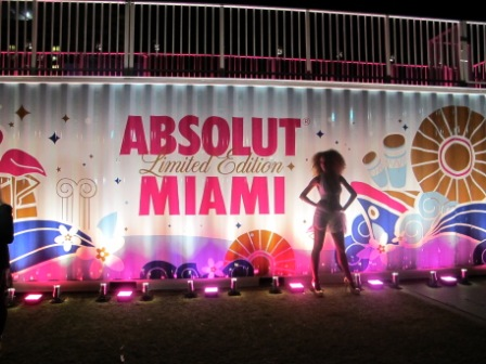 Lighting, corporate branding, launch, with Absolut Miami, at Fontainebleau Hotel, Miami Beach, FL