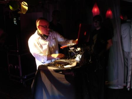 DJ party lighting, with DJ Mark Leventhal, at Raleigh Hotel, Miami Beach, FL
