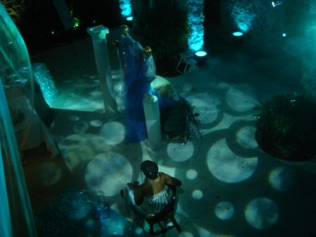 Dramatic, decorative gobo lighting, with Beaux Art Costume Ball, at Biscayne Bay Yacht Club, Coconut Grove, FL