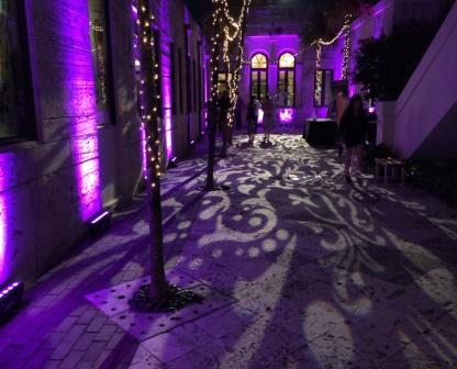 LED uplighting, courtyard, with Miami New Times 'Artopia', at Coral Gables Museum, Coral Gables, FL