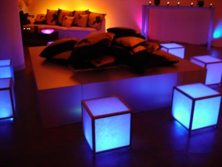 Custom LED uplighting, corporate branding, with Johnnie Walker, at DOT51 Gallery, Miami, FL