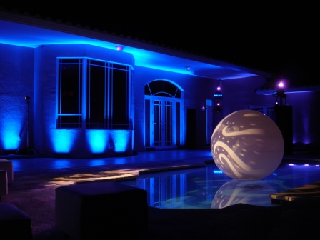 Lighting, surprise birthday party, submersible-LED, poolside, decorative cloudbuster sphere, rotating-gobo projections, private residence, Miami, FL