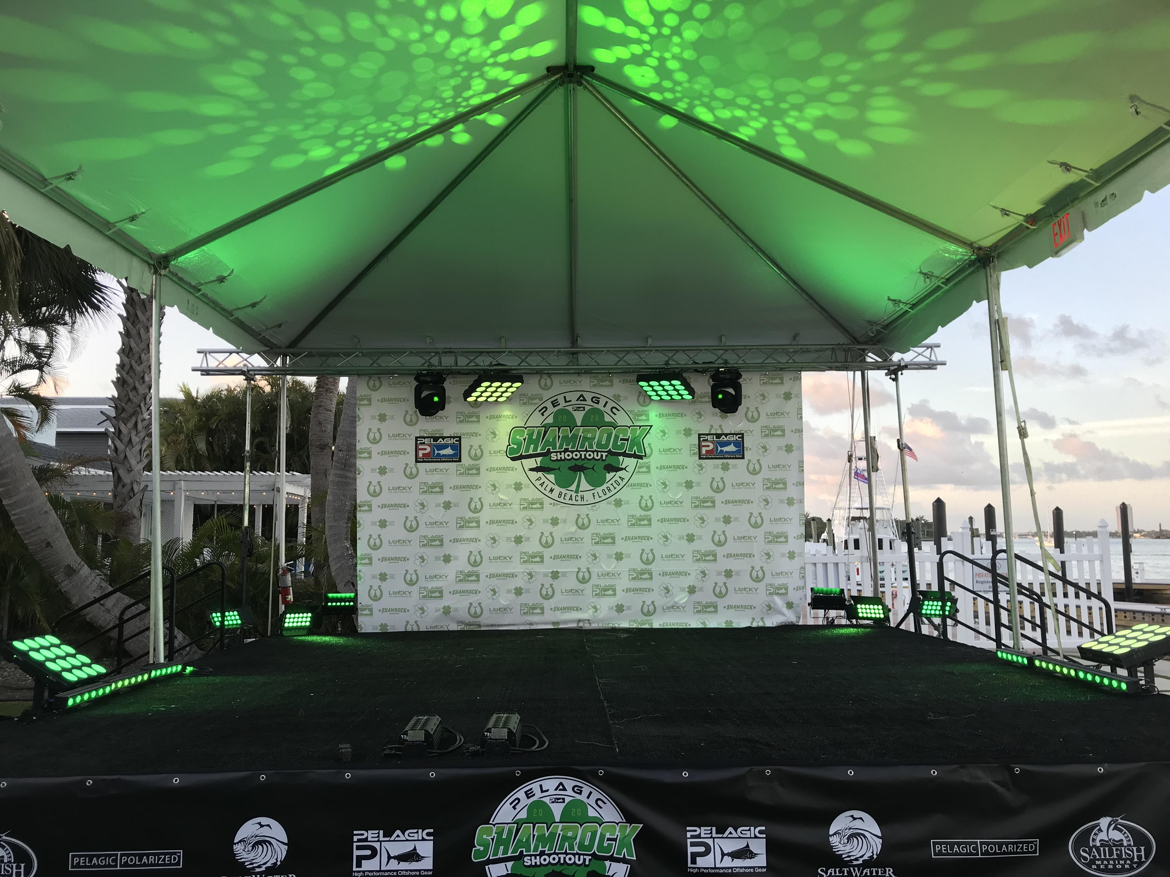 Lighting, fishing tournament, PELAGIC Shamrock Shootout, at Sailfish Marina, Palm Beach Shores, FL