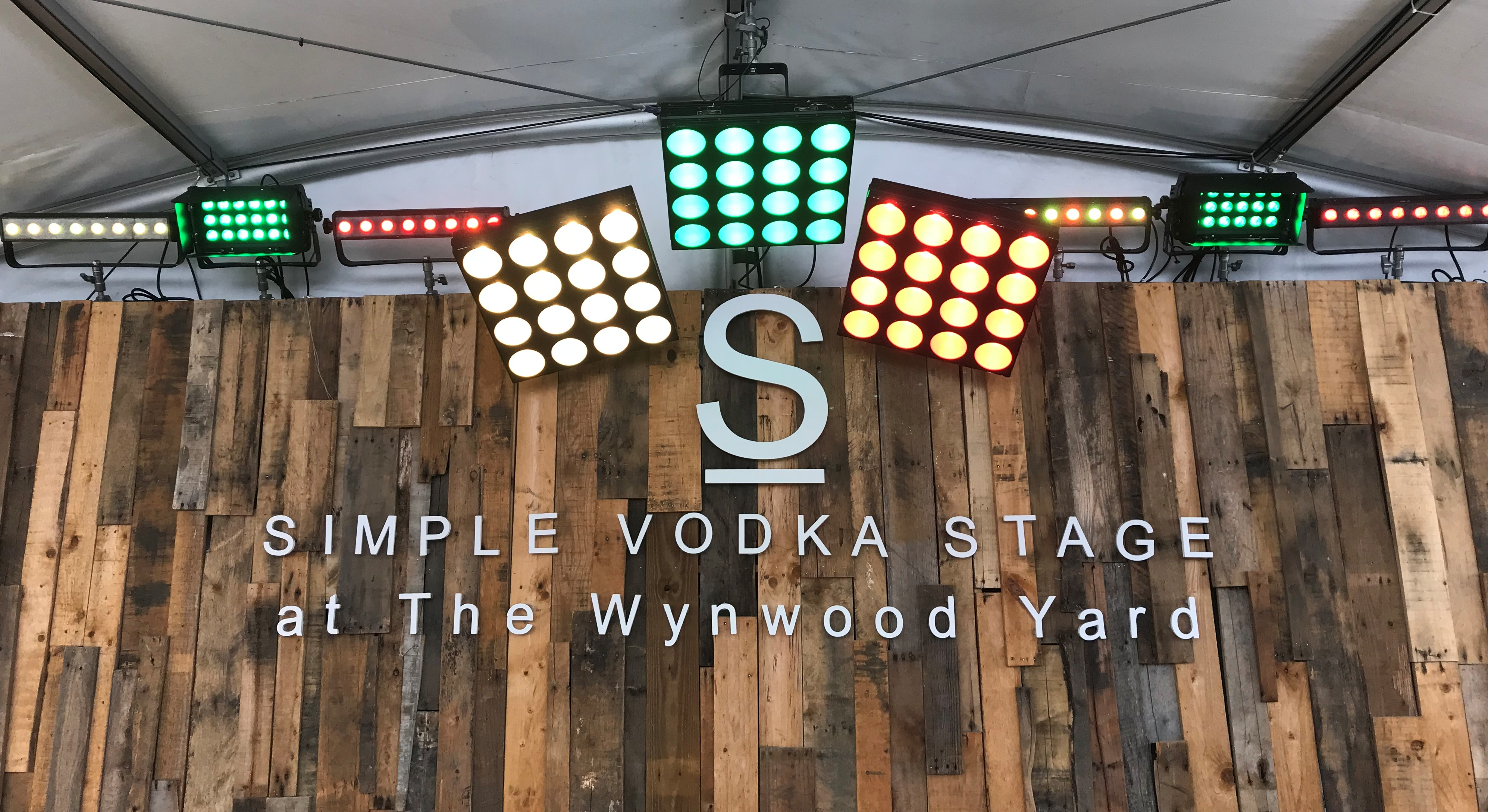 Lighting, corporate branding, with Simple Vodka at The Wynwood Yard, Miami, FL