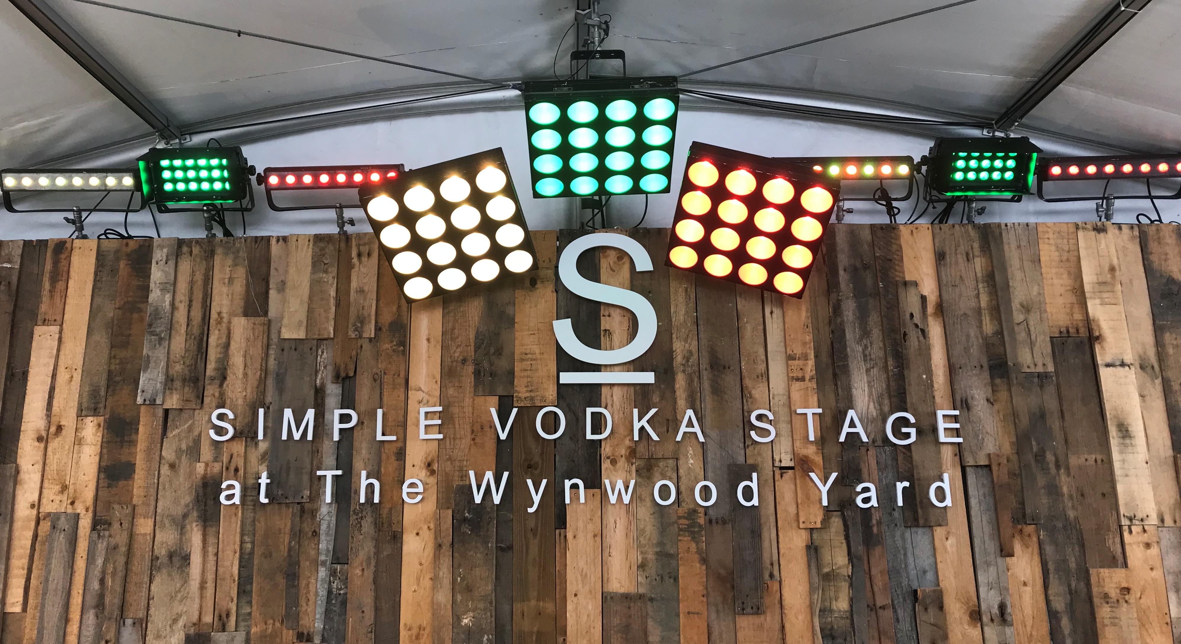 Lighting, corporate branding, Simple Vodka at The Wynwood Yard, Miami, FL