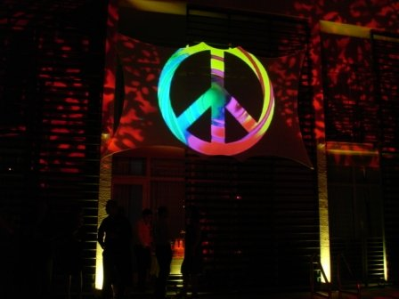 Decoration gobo lighting, motif, at Anglers Hotel, Miami Beach, FL