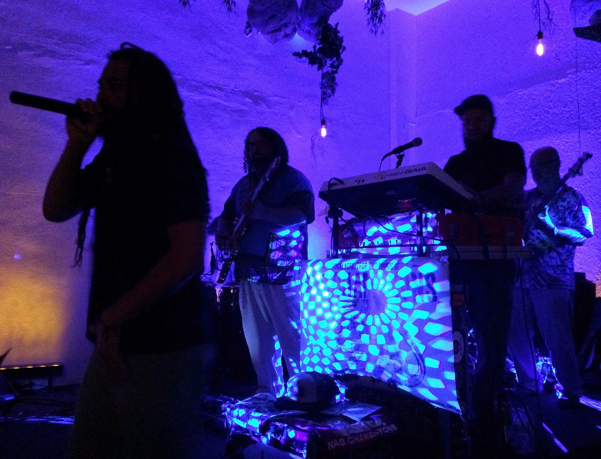 Stage concert lighting, tropidelic music, with 'N A G   CH A M P A Y O N S', at Mystic Waters Kava Bar, Hollywood, FL