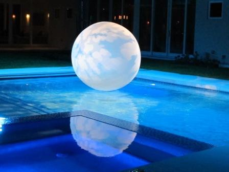 Decoration gobo lighting, cloudbuster sphere, with Barry University Alumni Association, at private residence, Miami, FL