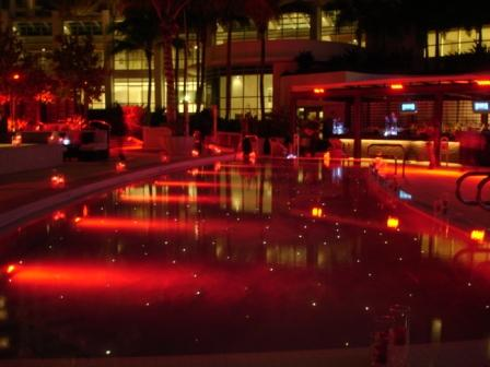 Lighting, hospitality, submersible LED, in pool, at Fontainebleau Hotel, Miami Beach, FL