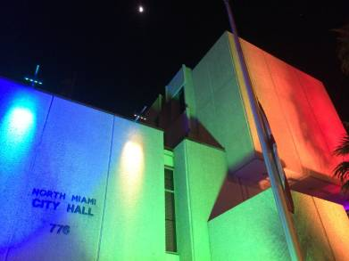 Facade lighting, 'Tribute: Victims of Violence', at North Miami City Hall, North Miami, FL