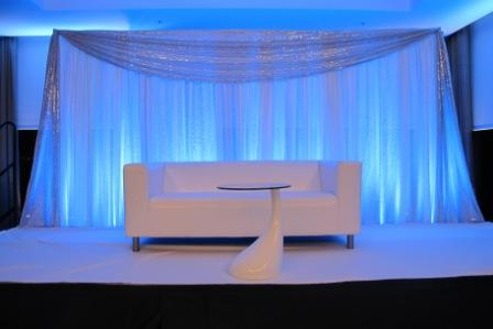 Uplighting, LED, blue, wedding, at B Ocean Hotel, Ft Lauderdale, FL