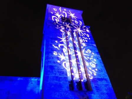 Facade lighting, historic architecture, with Miami New Times 'Artopia', at Coral Gables Museum, Coral Gables, FL