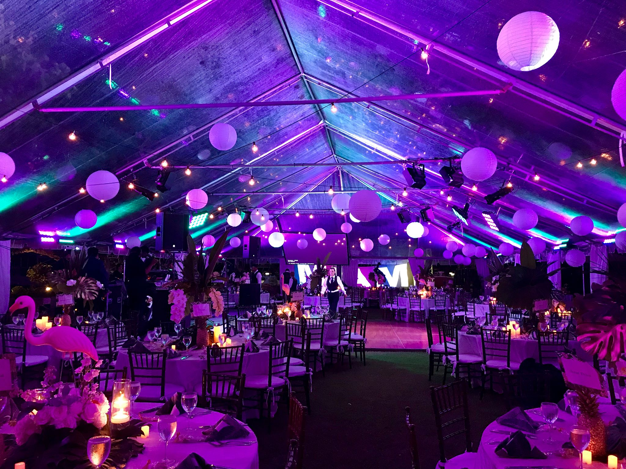 Lighting, tented affair, annual Beaux Arts Miami Costume Ball, at Biscayne Bay Yacht Club, Miami, FL